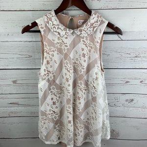 Nanette Lepore | Cream Lace Overlay Sleeveless Top